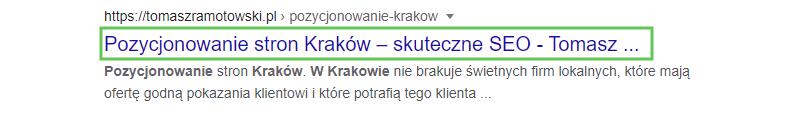 Tytuł w ynikach wyszukiwania Google